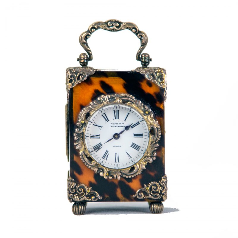 Tortoiseshell-&-Silver-clock-for-sale